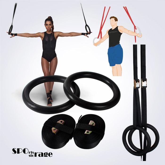 스포리지 튼튼하고 안전한 크로스핏 기계체조 링 홈트,클럽용 블랙짐링 (길이조절 원터치버클)